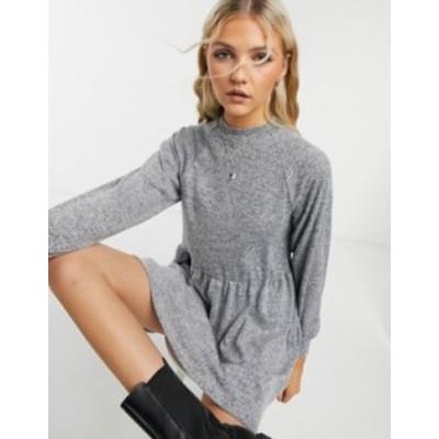 ニュールック レディース ワンピース トップス New Look cozy high neck sweat dress in gray Mid gray