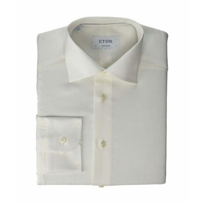 エトン シャツ トップス メンズ Contemporary Fit Textured Linen/Cotton Button-Down White