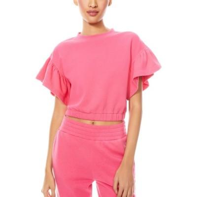 アリス アンド オリビア ALICE + OLIVIA レディース スウェット・トレーナー トップス Joline Ruffle Sleeve Crop Sweatshirt Wild Pink
