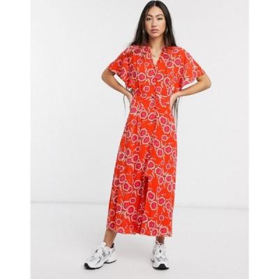 ホイッスルズ Whistles レディース ワンピース ミドル丈 ワンピース・ドレス ella button diagonal floral midi dress in red レッド/マルチ