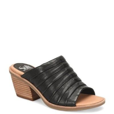 ソフト レディース サンダル シューズ Pienza Pleated Leather Block Heel Sandals Black