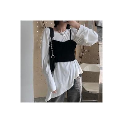 【送料無料】白いTシャツ 女 年 秋 韓国風 ミディ丈 ルース 何でも似合う デ | 364331_A63757-5830916