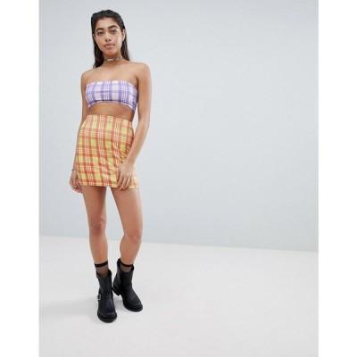 ジェイディッド ロンドン レディース ミニスカート スカート Jaded London Diamante Check Bodycon Skirt Co-Ord Yellow