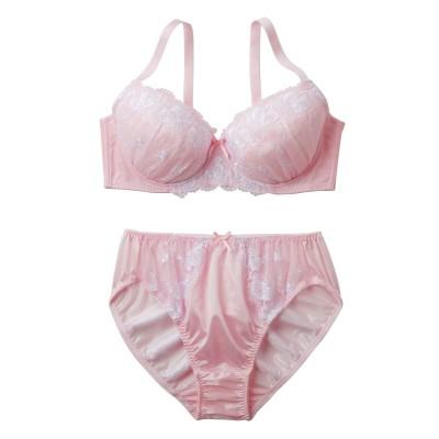 カメオ調フラワー刺しゅうブラジャー・ショーツセット(ラージサイズ)(D100/5L) (ブラジャー&ショーツセット)Bras & Panties