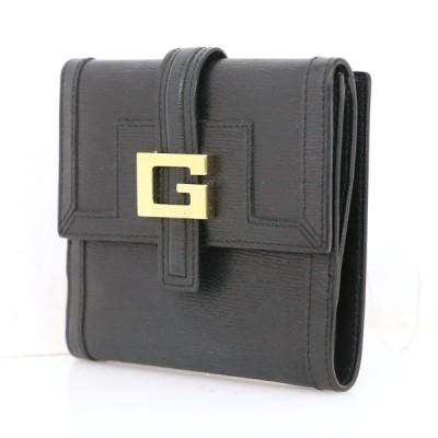 グッチ GUCCI ブラック レザー 両面財布 ロゴ 二つ折財布 レディース金具 ゴールド レディース メンズ ブランドアイテム【mi】【中古】