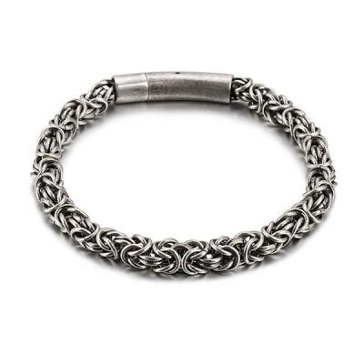 ブレスレット[ラッピング対応] PW 精良SUS316L製 シルバー銀 ローズ 薔薇のモチーフ ファッション bracelet /  長さ215mm 幅6mm 条件付送料無料61934