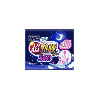 ユニチャーム ソフィ 超熟睡ガード 360 (6枚入) 36cm 羽つき 特に多い日の夜用 【医薬部外品】