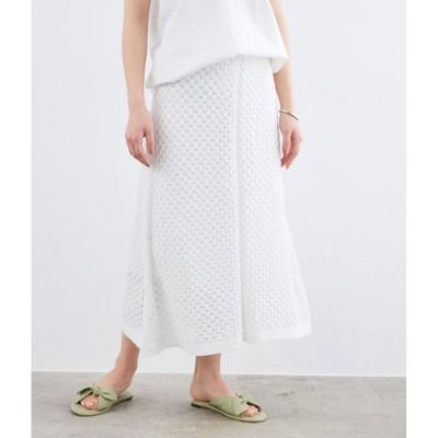 【ロペ マドモアゼル/ROPE mademoiselle】 【おうち服】【セットアップ対応】レース編みニットスカート