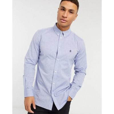フレンチコネクション French Connection メンズ シャツ トップス Oxford Button Down Logo Shirt In Mid Blue ブルー