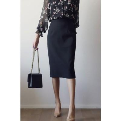 スリムスカート ひざ下 無地 3色 ブラック カーキ ホワイト ペンシルスカート タイトスカート スーツ 美ライン 上品 エレガント 新作 BQ