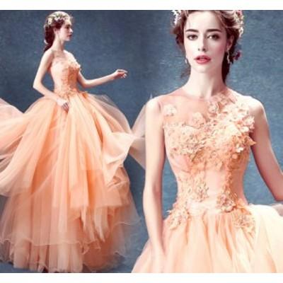 お呼ばれ パーティードレス 大人の魅力 フォーマルドレス 着痩せ 結婚式ドレス 丸襟 花柄 二次会ドレス 宴会 披露宴