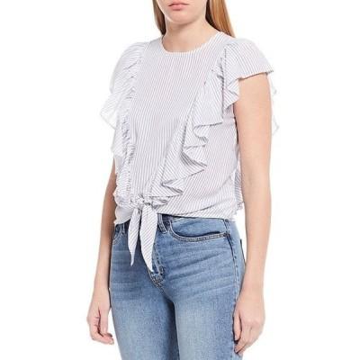 エラモス レディース シャツ トップス Freeah Ruffle Sleeve Stripe Tie Front Cotton Top