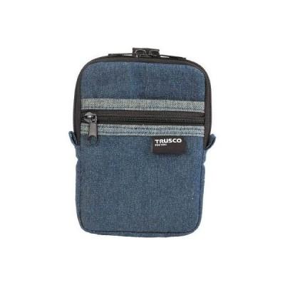 トラスコ中山 TDC-K101 デニムコンパクトケース 2ポケット ブルー