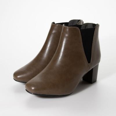 マシュガール masyugirl 【masyugirl(マシュガール)】【4E/幅広ゆったり・大きいサイズの靴 スクエアトゥサイドゴアブーツ】SOROTTO (オーク)