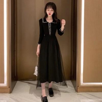 ワンピース チュールスカート ミモレ丈 ロング丈 黒 大きいサイズ 2-4XL お呼ばれ #3196