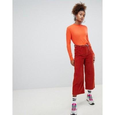 プルアンドベア レディース カジュアルパンツ ボトムス Pull&bear cord pants Burnt orange