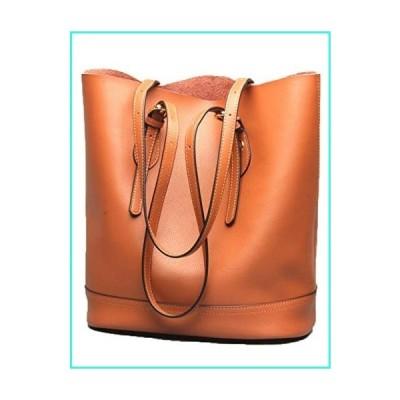 【新品】Women's Handbag Genuine Leather Tote Shoulder Bucket Bags Elegant Style Large Capacity (Brown)(並行輸入品)