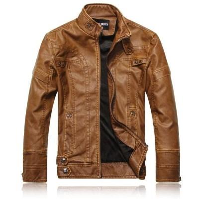 ファッション 人気 スリム 上着 メンズ フライト 皮ジャン 革ジャン ジャケット 格好よい メンズコート 裏起毛 ブルゾン DB1113042-2