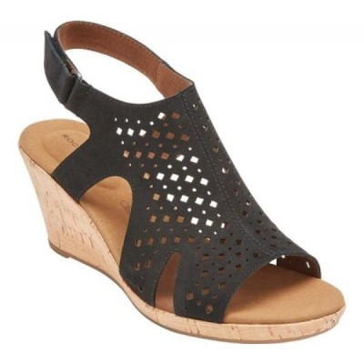 ロックポート Rockport レディース サンダル・ミュール ウェッジソール シューズ・靴 Briah Hood Wedge Heel Slingback Black Leather