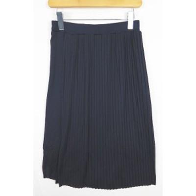 【中古】ニトカ nitca プリーツスカート ミモレ丈 F ネイビー sa9801 レディース