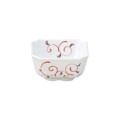 和食器赤絵唐草(強化磁器)(強化) 隅切角小鉢/大きさ・9.4×9.4×4.9cm