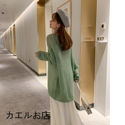 Vネック セーター 薄手 レディース 初秋 新品 長袖 ゆったり カジュアル シンプル オシャレ