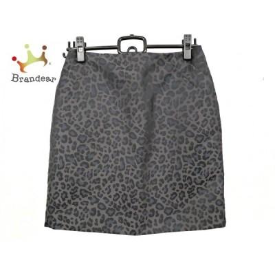 ポールカ PAULEKA スカート サイズ36 S レディース 美品 黒×ダークネイビー 豹柄     スペシャル特価 20200425