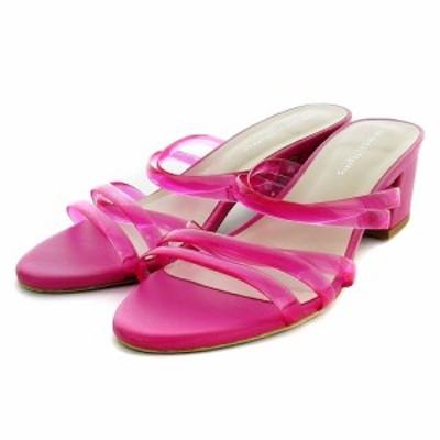 【中古】オリエンタルトラフィック サンダル ミュール ミドルヒール クリア PVC LL ピンク 靴 シューズ レディース