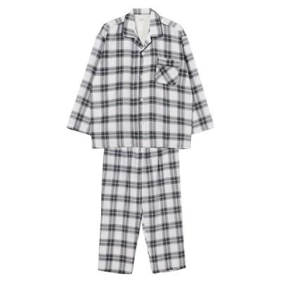セブンプレミアムライフスタイル メンズ 紳士 <肌にやさしい綿100%>先染めガーゼ シャツパジャマ ホワイト 3L