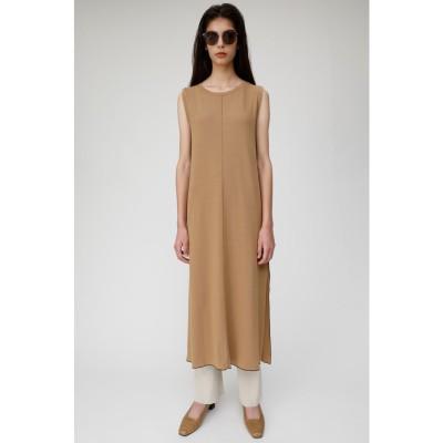 マウジー moussy SLEEVELESS RIB LONG DRESS (ベージュ)