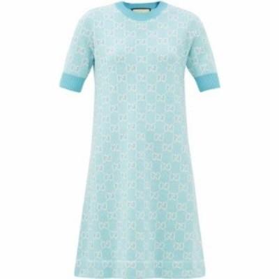 グッチ Gucci レディース ワンピース ミニ丈 ワンピース・ドレス GG-jacquard wool-blend mini dress Blue