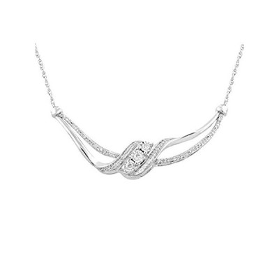 Jewelili Sterling Sliver 1/5 Cttw Natural White Round Diamond Necklace Pend