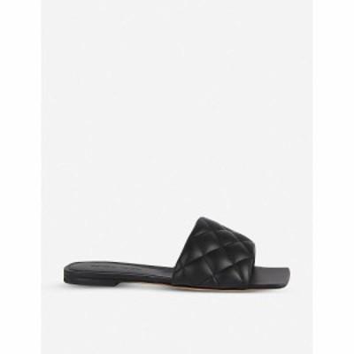 ボッテガ ヴェネタ BOTTEGA VENETA レディース サンダル・ミュール フラット シューズ・靴 Quilted leather flat sandals BLACK