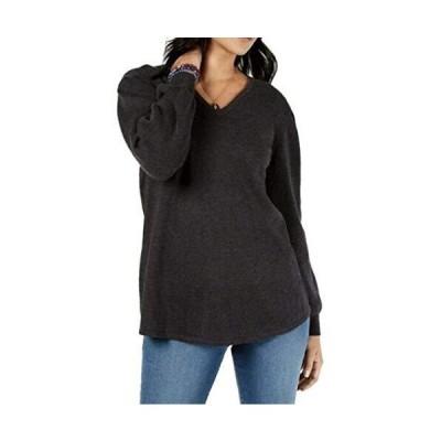 Style & Co. Women's Plus Size Cotton Blend V-Neck Tunic Sweater Gray Size 1