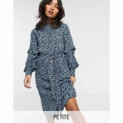 ヴェロモーダ Vero Moda Petite レディース ワンピース ミドル丈 Midi Dress With Shirred Neck And Sleeve Detail In Blue Ditsy Floral