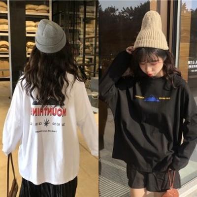 秋服 レディース ロゴtシャツ 韓国 ファッション ロングTシャツ 長袖 バックロゴtシャツ ストリート系 ストリートファッション レディ
