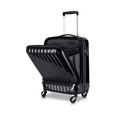 TABITORA(タビトラ)スーツケース 機内持込 トップオープン フロントオープン  (ブラック-2代目 SSサイズ)