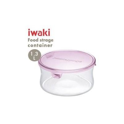 【 対応 】iwaki パック&レンジ(ピンク)保存容器 1.3L KT7403-P【 保存容器 容器 密閉 電子レンジ対応 耐熱ガラス オーブン対応 】[iwaki 保存容器]