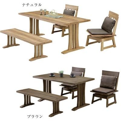 ダイニングセット テーブルセット 4点 和風 モダン カフェ ベンチ 回転チェアー