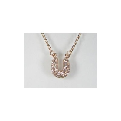 K10PG ピンクゴールドダイヤモンド馬蹄 ペンダント ネックレス