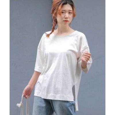 tシャツ Tシャツ オーバーサイズヘムラインスリット半袖Tシャツ