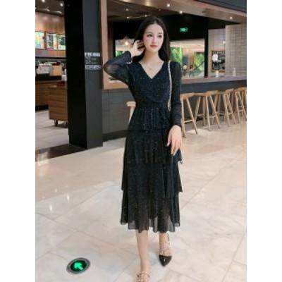 【 M ~ 6XL 】 大きいサイズ レディース ハイウエスト ロングスリーブ ロング ドレス スカート 5L 4L 3L 70662