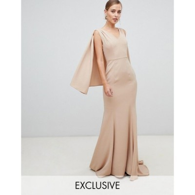 ヤウラ マキシドレス レディース Yaura plunge front maxi dress with cape detail in taupe エイソス ASOS