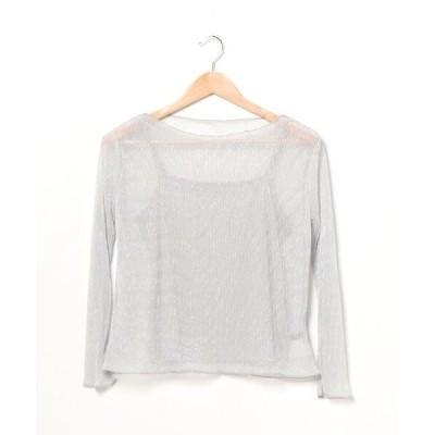 tシャツ Tシャツ ラメシアープリーツ長袖キャミソール/SET
