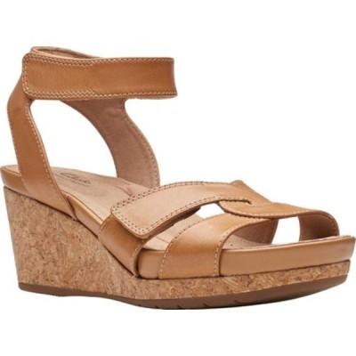 クラークス レディース サンダル シューズ Un Capri Strap Wedge Sandal Light Tan Full Grain Leather