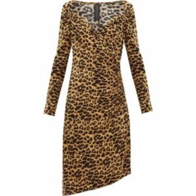 ノーマ カマリ Norma Kamali レディース パーティードレス ワンピース・ドレス Sweetheart-neck leopard-print jersey dress Leopard pri