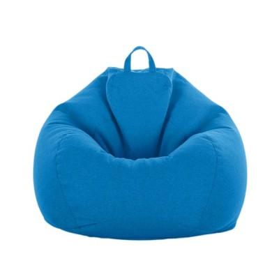 ソリッドカラー リネン ビーンバッグ カバー ソファカバー 伸縮性 約60 * 75cm 10色可選 - スカイブルー