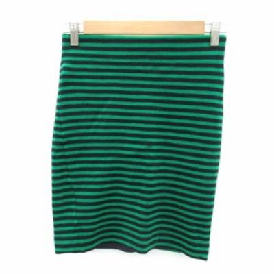 【中古】アルアバイル allureville スカート タイト ミニ丈 ボーダー柄 ウール 2 緑 グリーン 紺 ネイビー レディース
