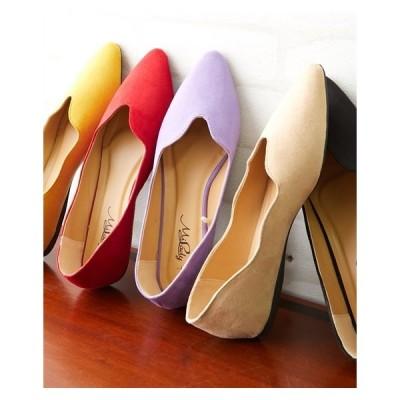 パンプス レディース フラワーカットフラット 靴 25.5〜26.0cm/26.5〜27.0cm ニッセン nissen