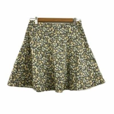 【中古】スピック&スパン Spick&Span スカート フレア ミニ 花柄 38 緑 茶 グリーン ブラウン レディース